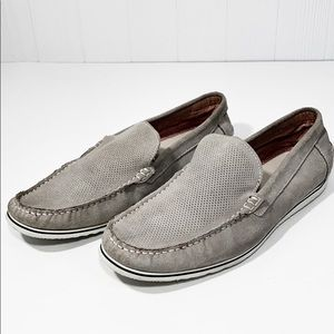 Aldo | Gray Leather Suede Slip On Loafers 10